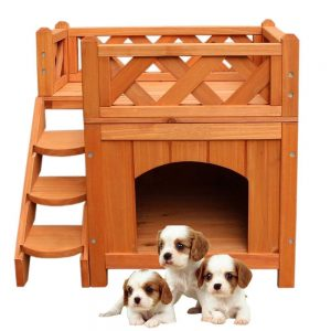 Ktaxon 20″ Wooden Puppy Pet House In/Outdoor, Raised Roof Balcony